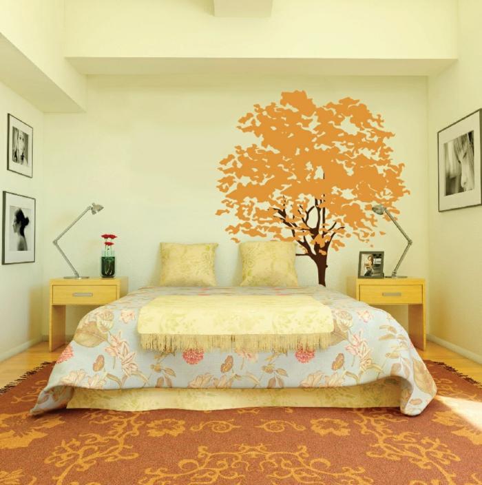 innendesign herbst schlafzimmer florale muster teppich wandtattoo