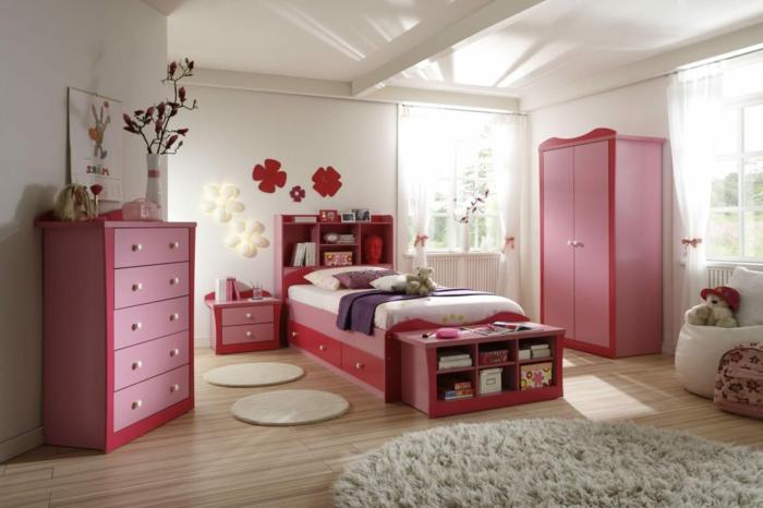 jugendzimmer für mädchen farbige möbel runder teppich