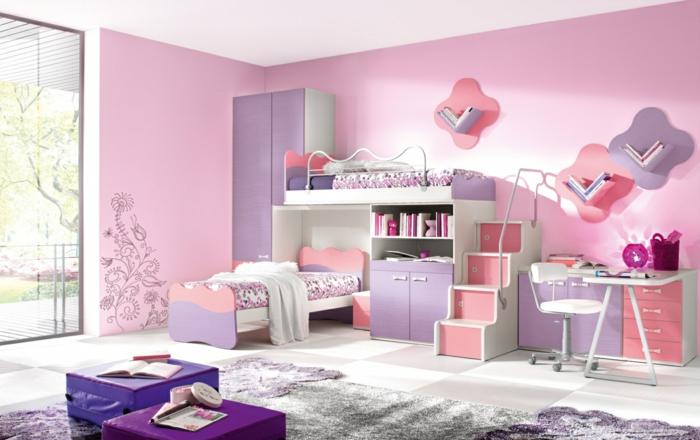 jugendzimmer für mädchen gestalten rosa wandfarbe funktionale möbelstücke
