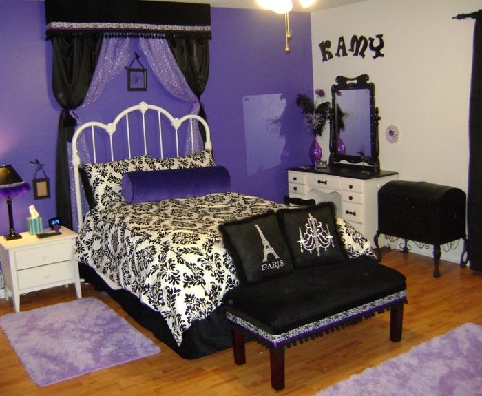 jugendzimmer für mädchen lila akzente schlafzimmerbank individueller look