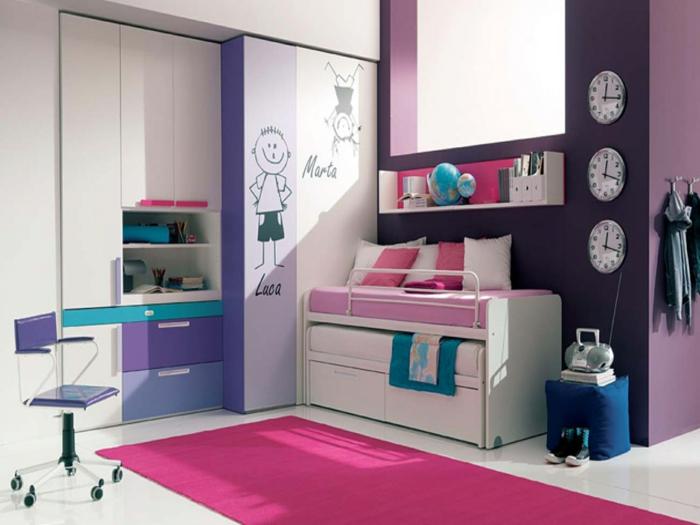 jugendzimmer für mädchen lila wände rosa teppich