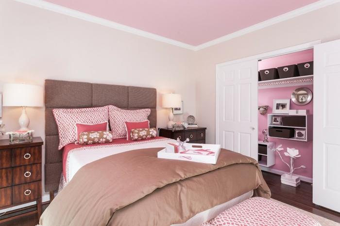 jugendzimmer für mädchen rosa decke kommode