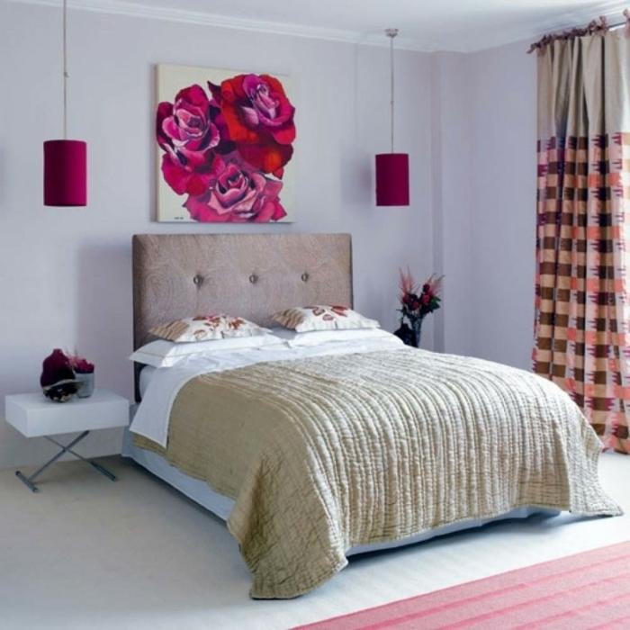 Jugendzimmer Mädchen Pendelleuchten Teppich Gemälde Lange Gardinen