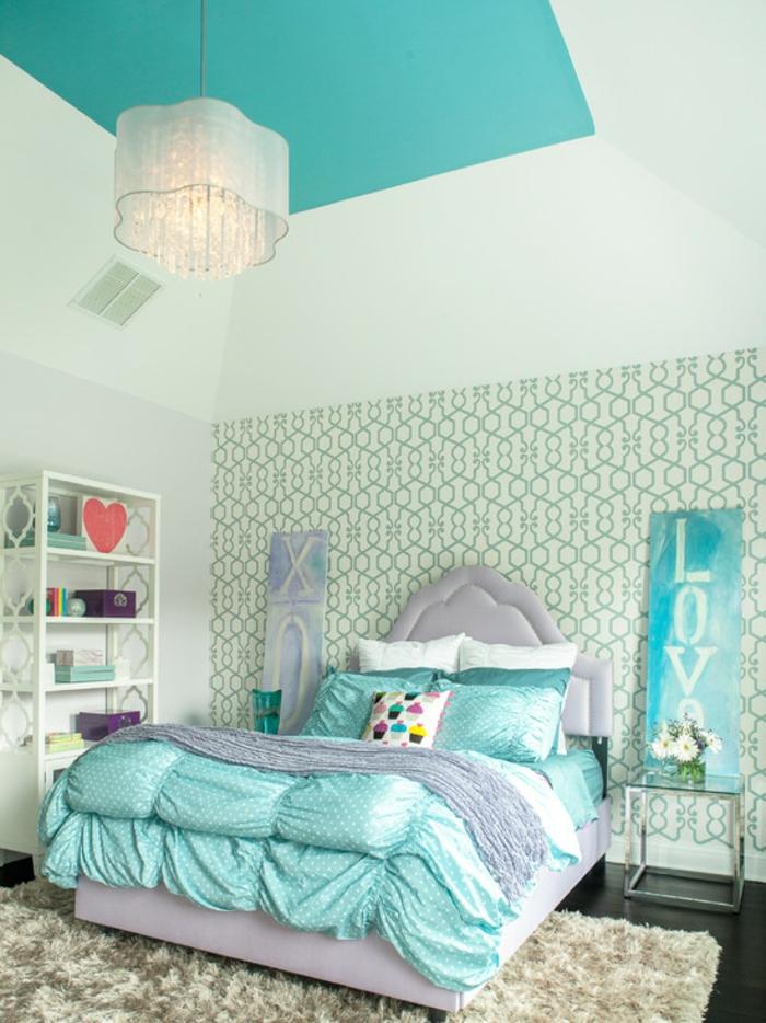 Jugendzimmer Mädchen Schöne Wandtapete Offene Regale Teppich