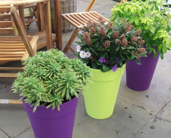 kübelpflanzen stilvolle blumentöpfe farbig außenbereich dekorieren