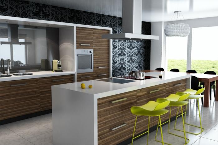 küche wandgestaltung elegante küchentapeten grüne barhocker kücheninsel schubladen