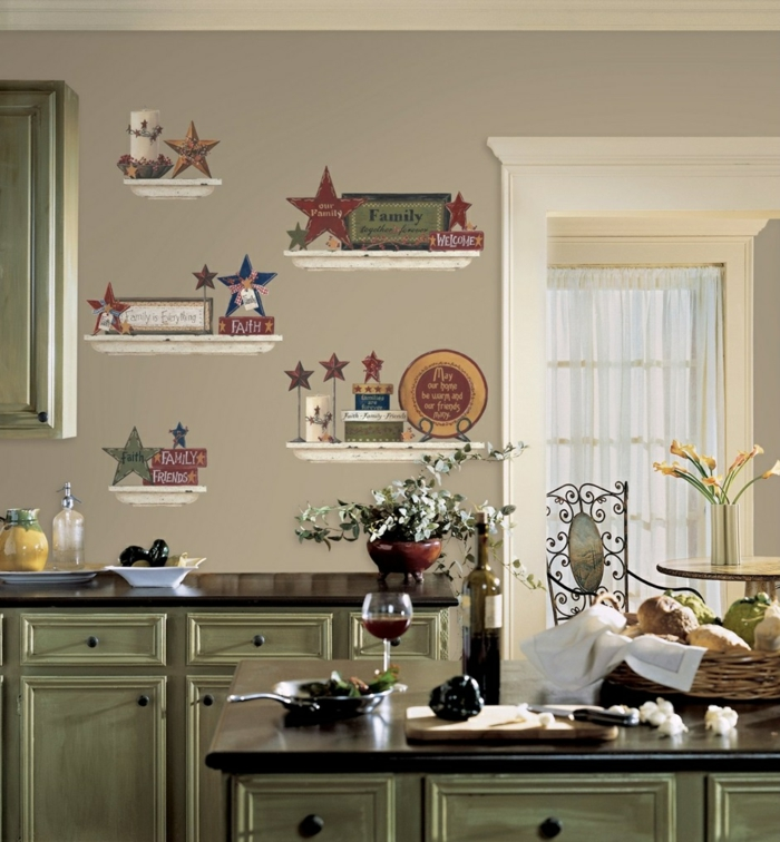 küche wandgestaltung ideen wandsticker hellgrüne küchenschränke