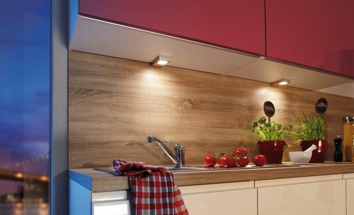 küchenbeleuchtung ideen unterschrankleuchten rote hängeschränke
