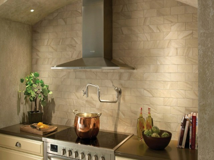 küchenfliesen küchenrückwand gestalten pflanzen kücheneinrichtung