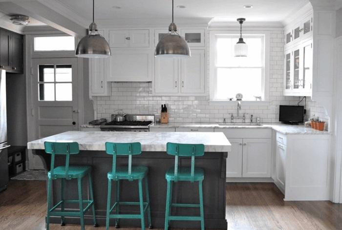 kücheninsel mit barhockern moderne kochinsel