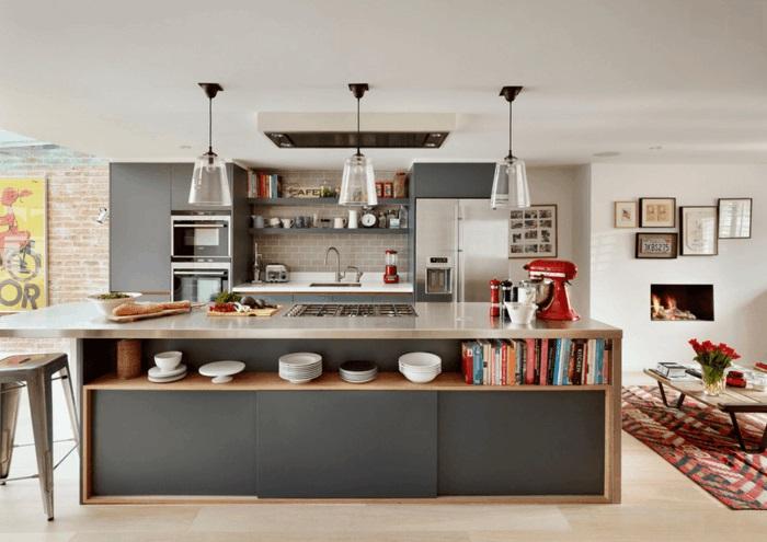 kücheninsel mit extra stauraum küche mit kochinsel gestalten