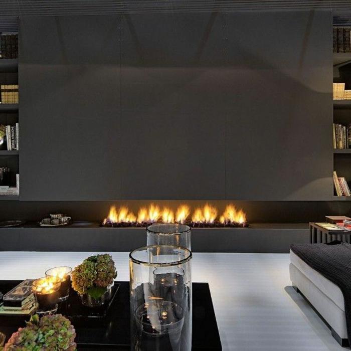 kamin design modern lang offen wohnzimmer einrichten
