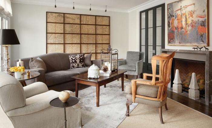 kamin design wohnzimmer teppiche beistelltische