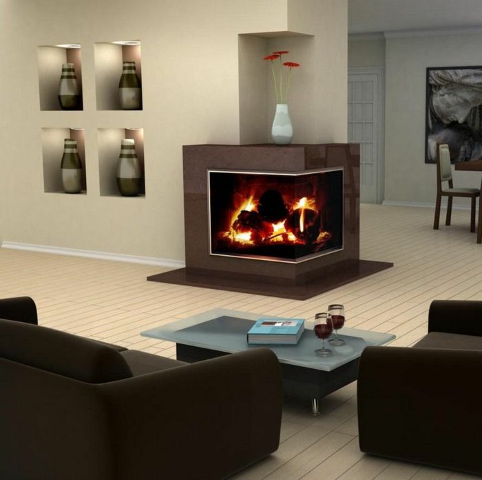 kaminofen eckkamin design eingebaute regale braune wohnzimmermöbel