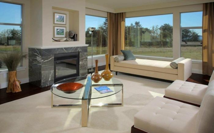 kaminofen wohnzimer einrichten weißer teppich glastisch