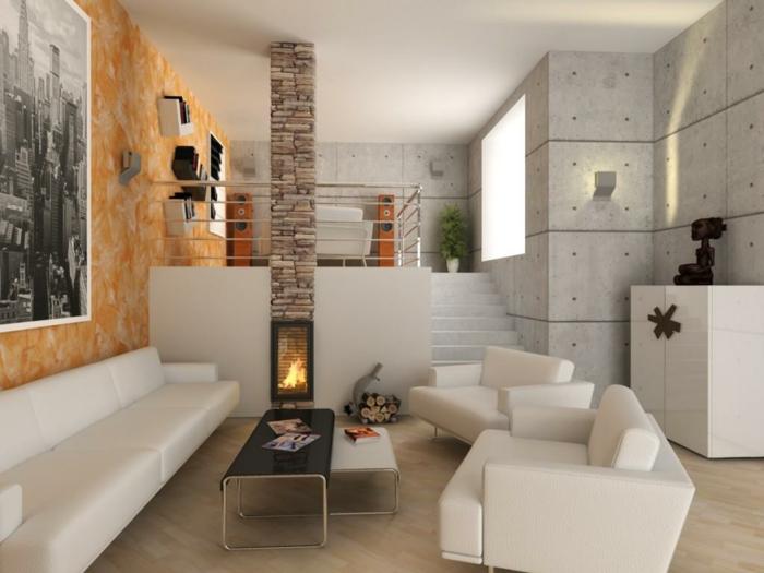 kaminofen wohnzimmer weiße wohnzimmermöbel schöne wandgestaltung