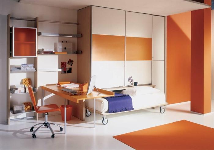 kleiderschrank kinderzimmer oranger teppich schreibtisch funktionale möbel