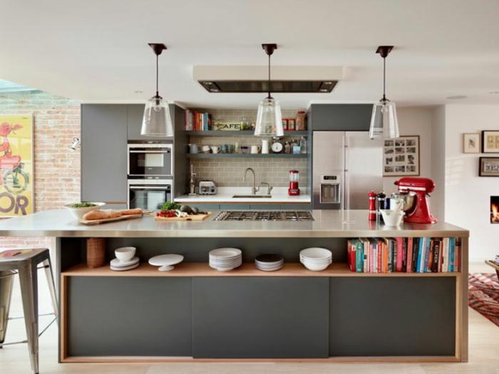 kleine küchen kücheninsel hängeleuchten weiße wandfarbe