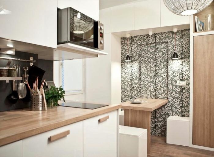kleine küchen schöne akzentwand funktionaler esstisch