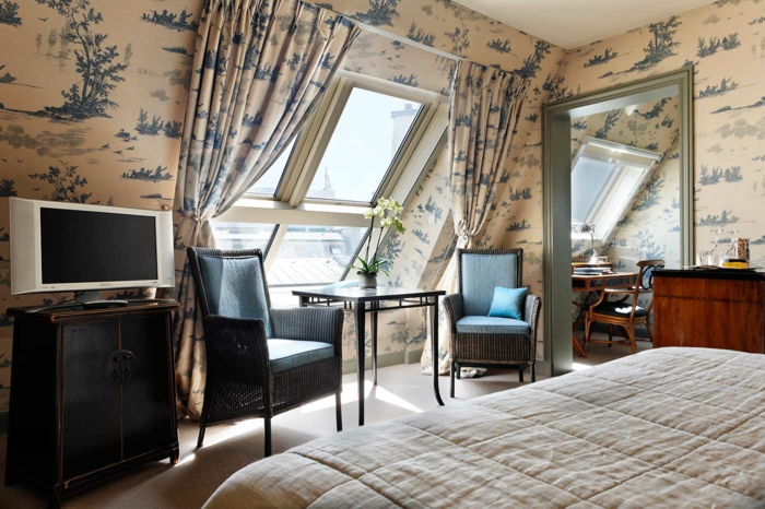 landhausstil gardinen blaue muster vorhänge toile de jouy