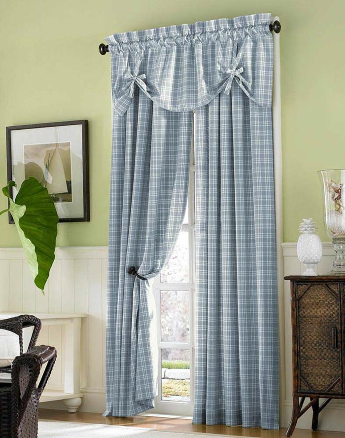 landhausstil gardinen blaue vorhänge kariert