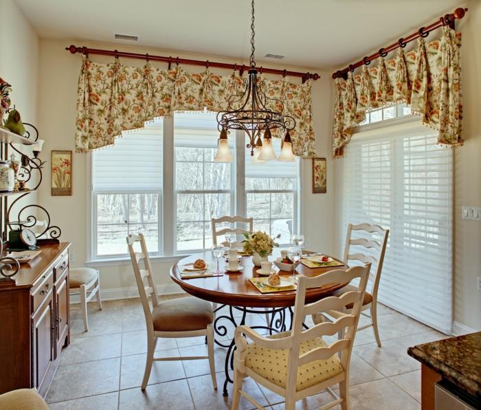 country style gardinen blumenmuser küchenfenster dekorieren
