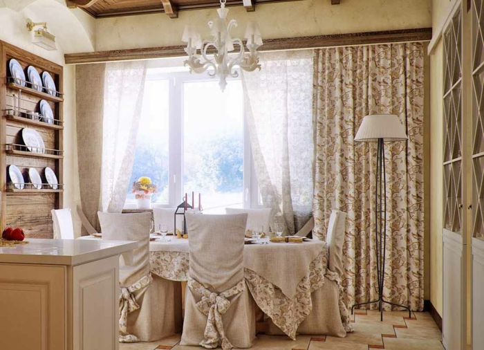 country style gardinen filigrane muster vorhänge toile de jouy