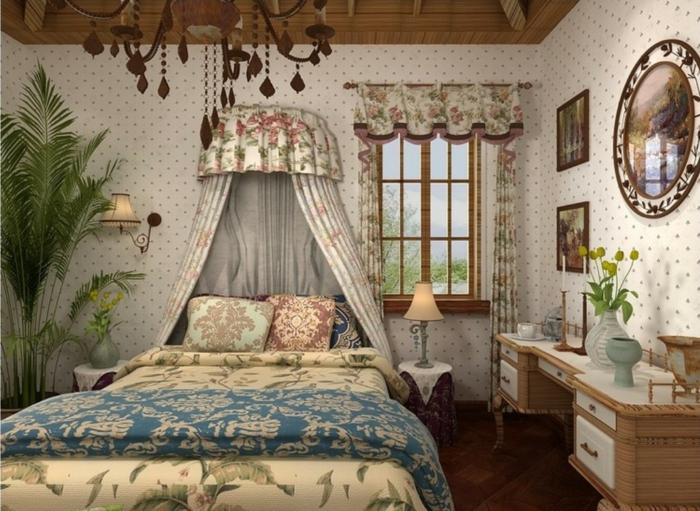 landhausstil gardinen floral vorhänge deko baldachin