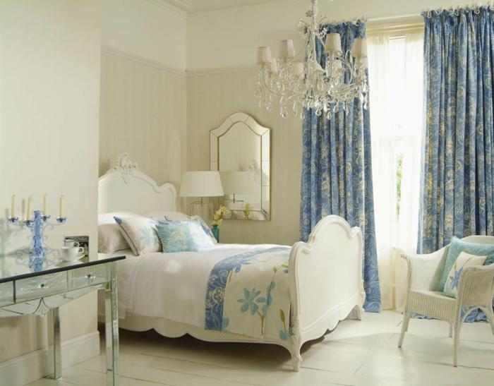 landhausstil gardinen französisch blau abstrakte muster