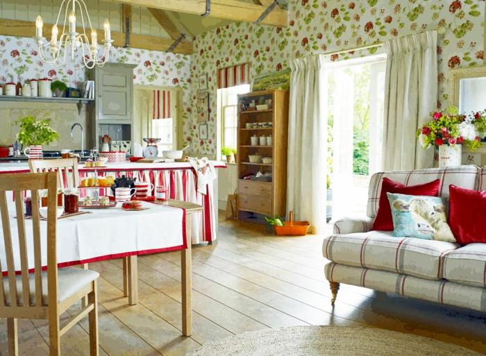 country style gardinen vorhänge einfarbig bunt gemusterte wände