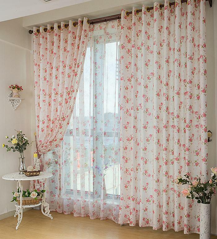 country style gardinen vorhänge zierliche rosen muster