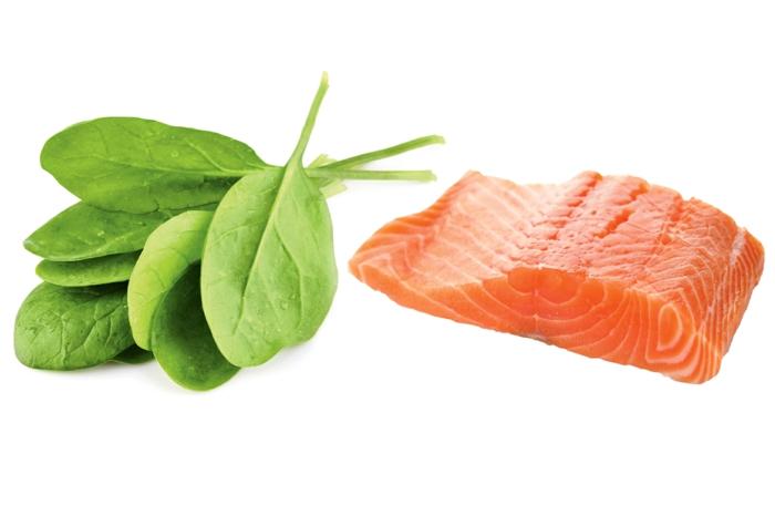 lebensmittel mit kalzium lachs spinat blätter vitamin D lebensmittel
