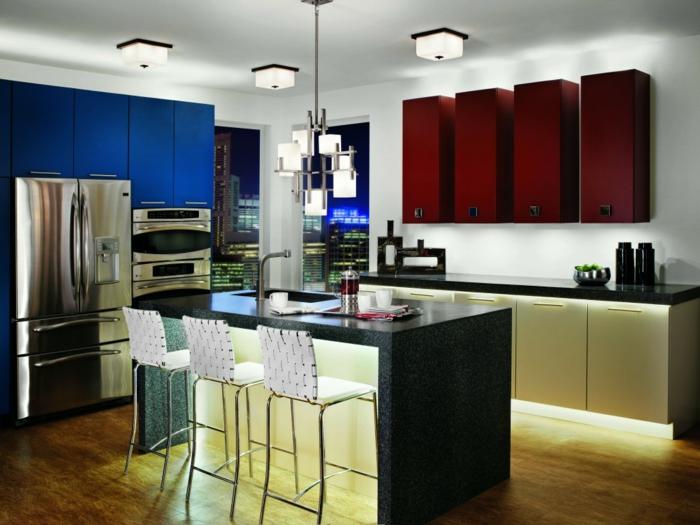 led küchenbeleuchtung led streifen rote hängeschränke