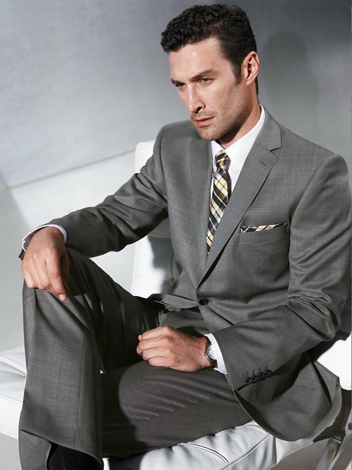 männermode carl gross eleganter anzug grau