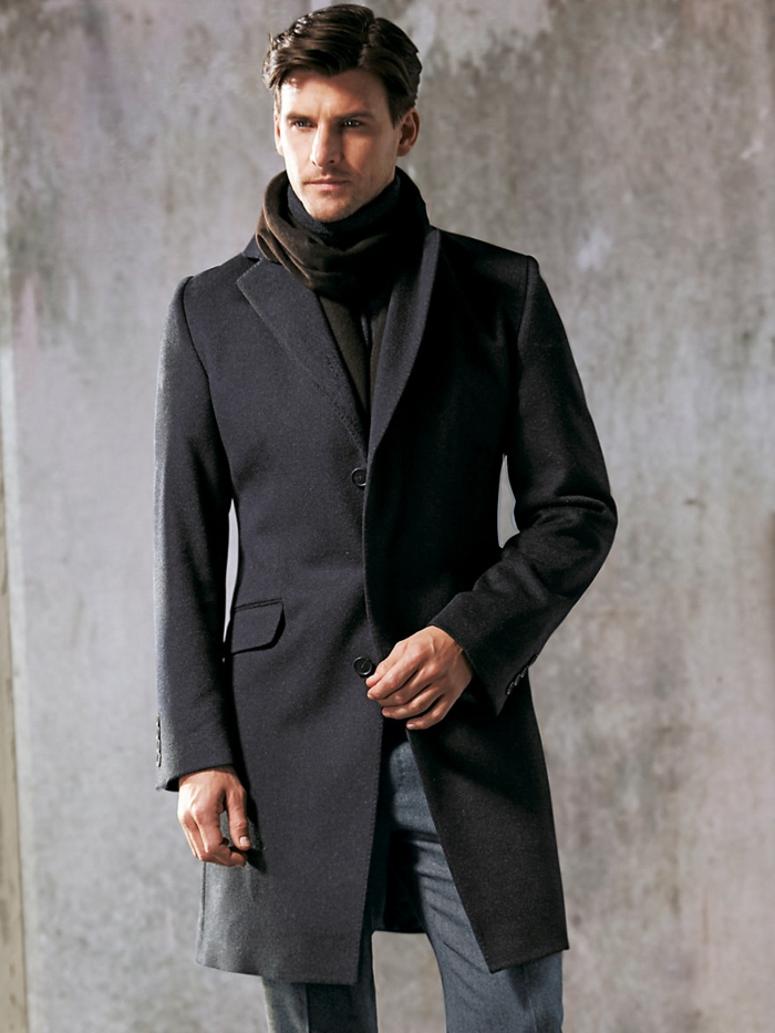 männermode carl gross mantel graphite farbe