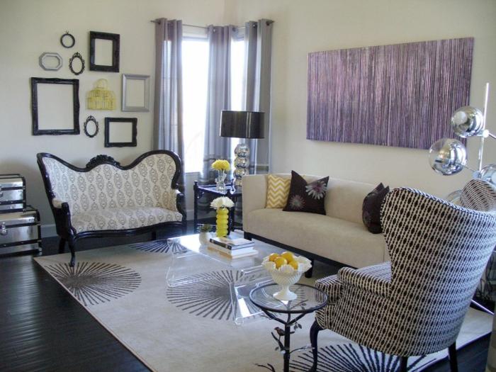 moderne einrichtungsideen eklektisches wohnzimmer wanddeko transparenter couchtisch