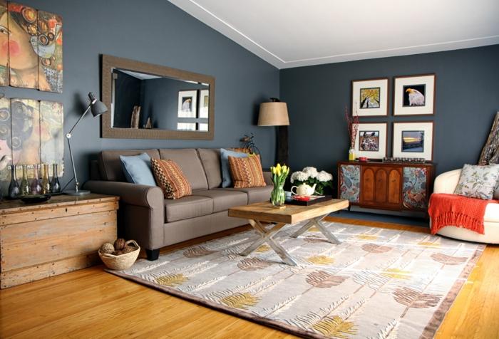 moderne einrichtungsideen wohnzimmer einrichten graue wände dekokissen blumen wanddeko