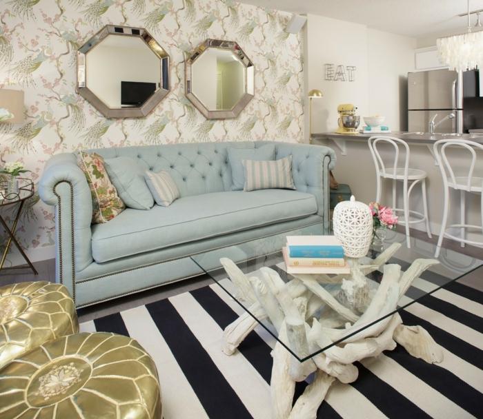 moderne einrichtungsideen wohnzimmer streifenteppich rustikaler couchtisch offener wohnplan