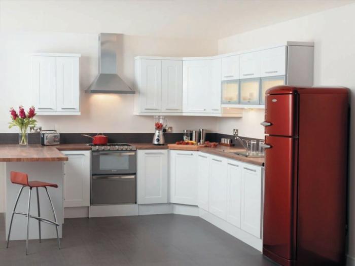 moderne küchenmöbel große kühlschränke rot