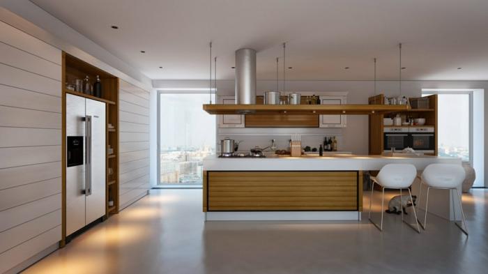 moderne küchenmöbel kühlschränke mit gefrierfach holzküche