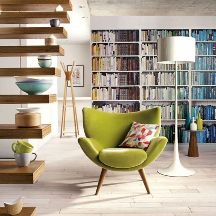 moderne sessel retro design grün wohnzimmer offene regale
