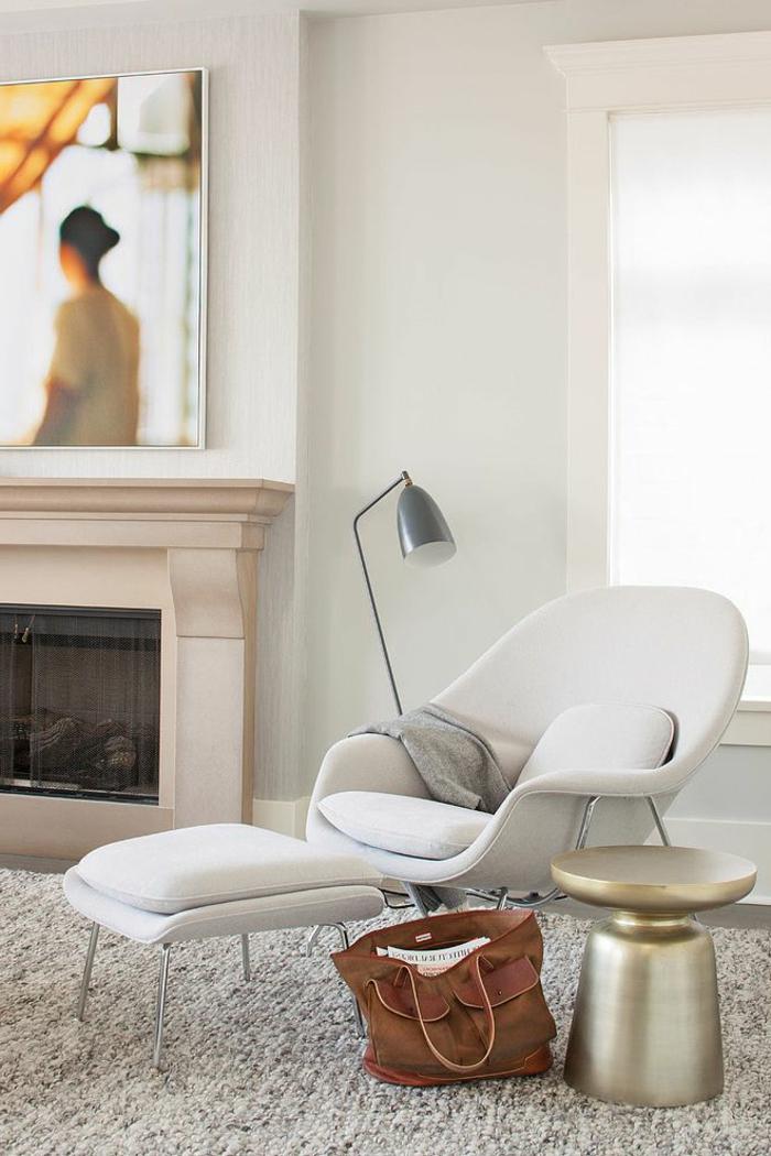 moderne sessel weißes design hocker wohnzimmer kamin