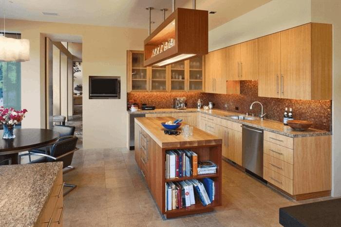 moderne küche mit kochinsel holz kücheneinrichtung