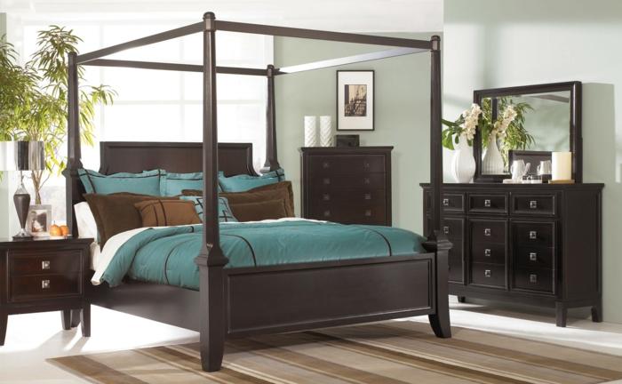modernes schlafzimmer einrichten grüne bettwäsche elegante brune möbel pflanzen