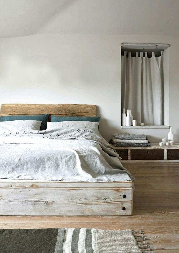 modernes schlafzimmer palettenbett teppichläufer rustikaler look