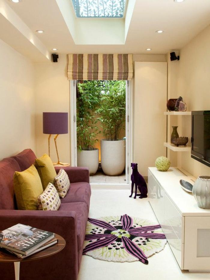 runde teppiche kleines wohnzimmer raffrollo pflanzen