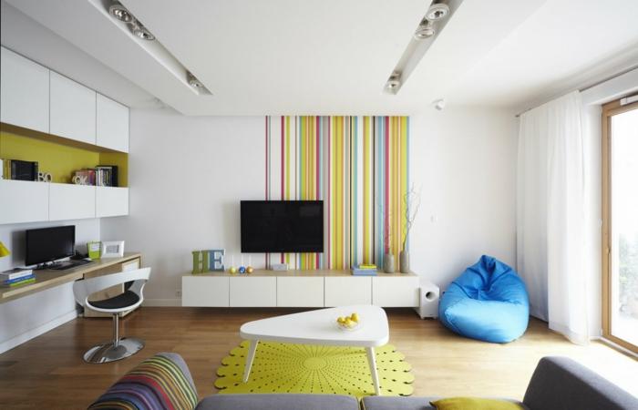runder teppich wohnzimmer einrichten grüner teppich farbige streifen