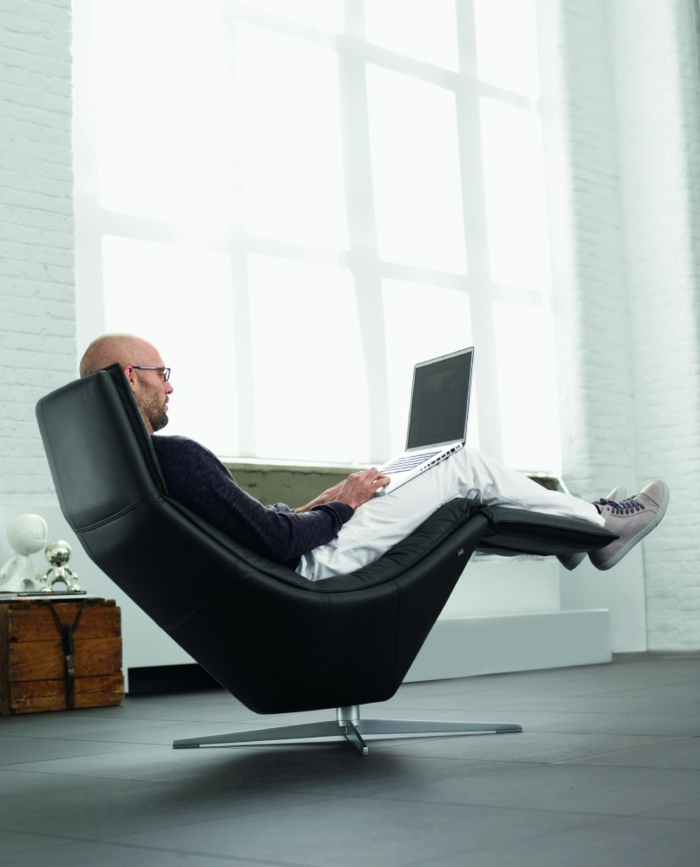 schöne sessel relaxsessel schwarz ledersessel