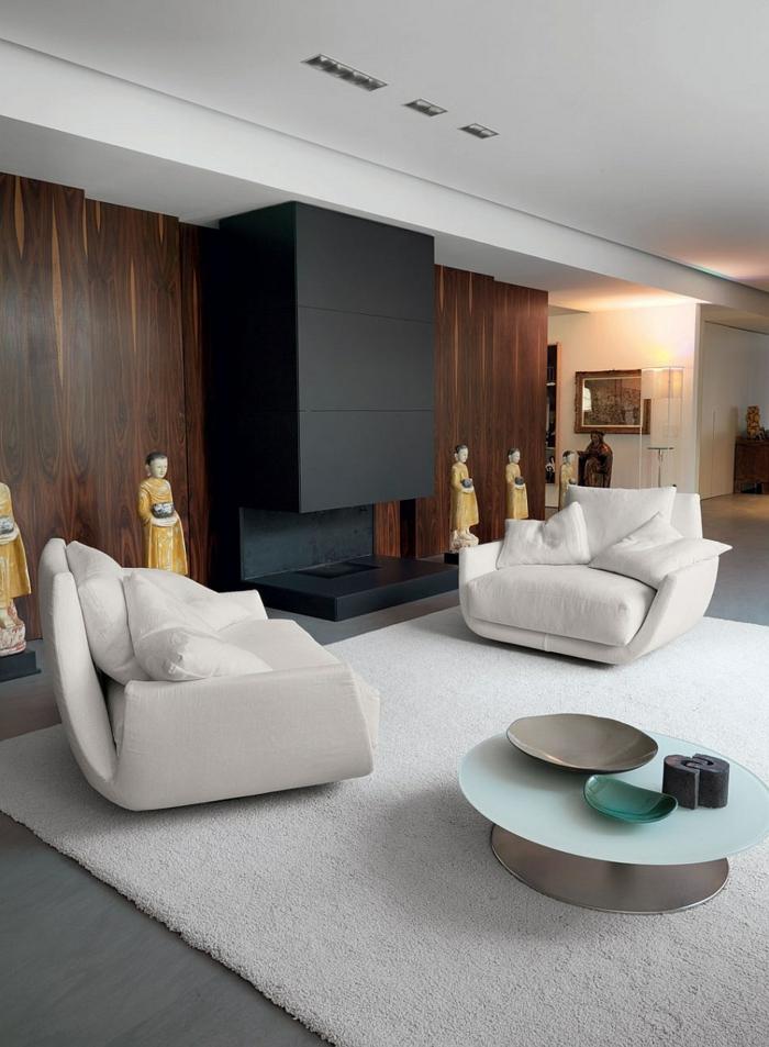schöne sessel weiß wohnzimmer einrichten weißer teppich