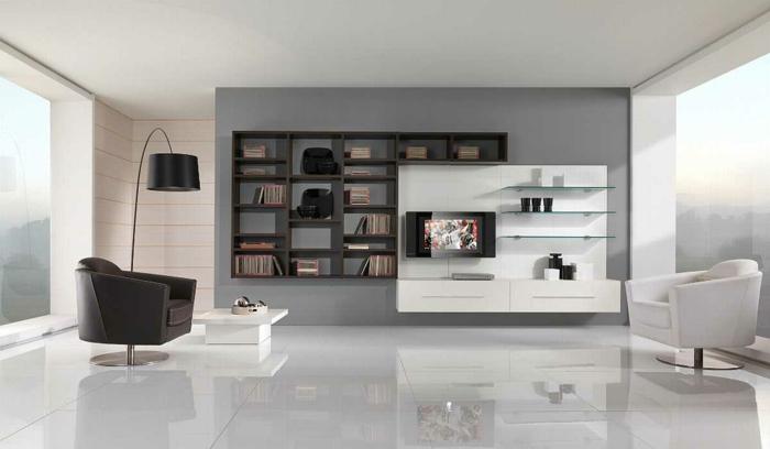 schöne sessel wohnzimmer weiß schwarz kontrast weiße bodenfliesen